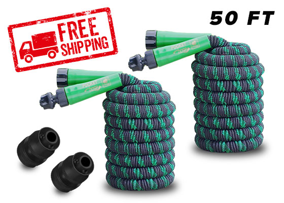 Free shipping stamp in corner; 2 Black Bullet Nozzles; 2 Pocket Hose Black Bullet 50 FT