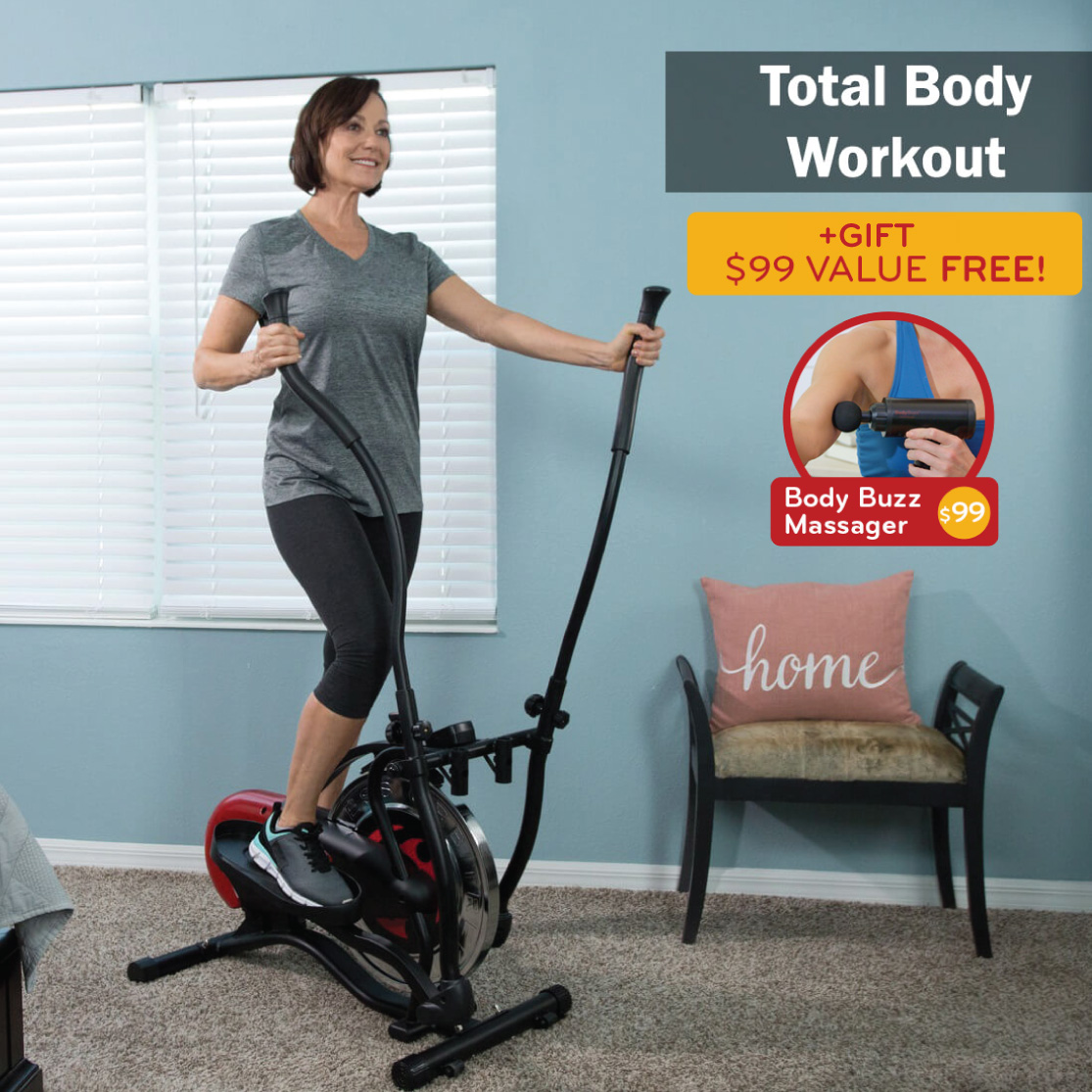 Total Body Workout on the Orbitrek Elite: Free Body Buzz Massager valued $99 (Gift)
