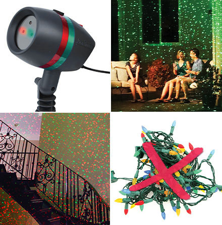Collage of Star Shower Motion; Friends sitting outside covered with lights from Star Shower Motion; Star Shower Motion inside home lighting up stairwell; tangle of string lights crossed out