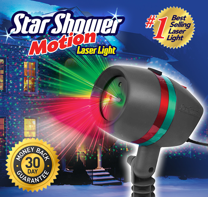 Star Shower Motion Laser Light; #1 best selling laser light; buy 2 or more for spectacular results; 30 day money back guarantee; Star Shower Motion outside home