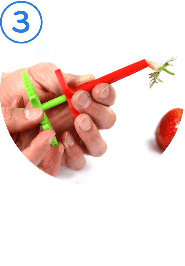 3. Pipe Clean. Remove the huller from the fruit and clean the straw using the huller insert.
