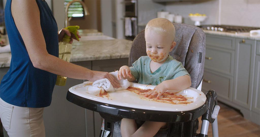 Wiping high chair with S-Water™