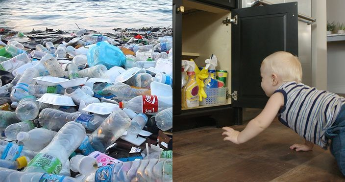 Plastic Pollution on beach – Baby reaching for chemical cleaners