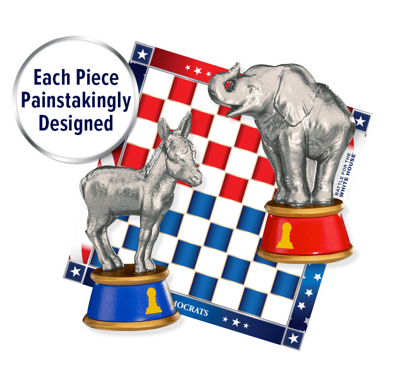Each Piece Painstakingly Designed Democrat and Republican Chess Piece over Chess Board