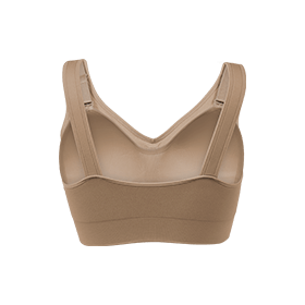 sand color genie bra showing comfort band and full back panel design