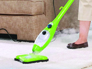 Steam cleaning a deep white carpet