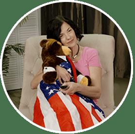 cozy flag blanket included inside of bear