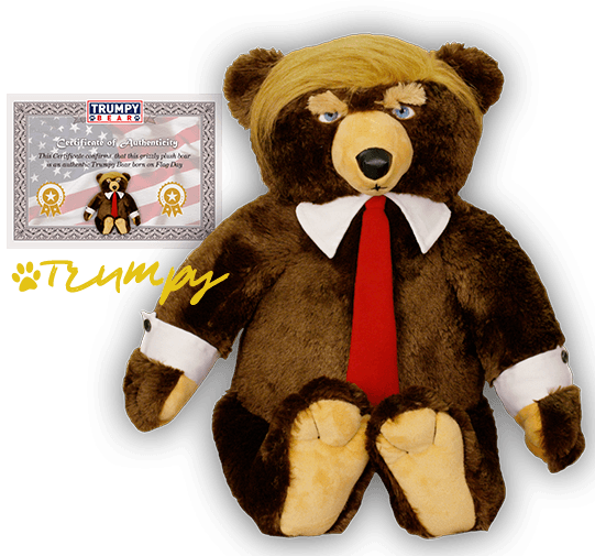 trumpy bear with certificate