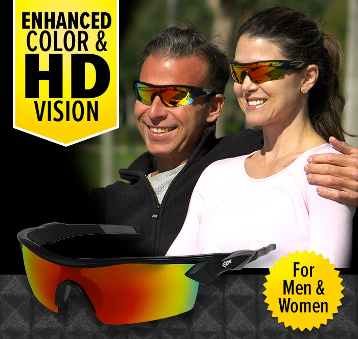 Enhanced Color & HD Vision for Men and Women. Couple wearing Battle Visions