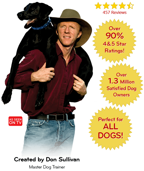 Don Sullivan with a black labrador. The Perfect Dog system has over 90% 4 and 5 star ratings, and over 1.3 million satisfied dog owners. It's perfect for all dogs!