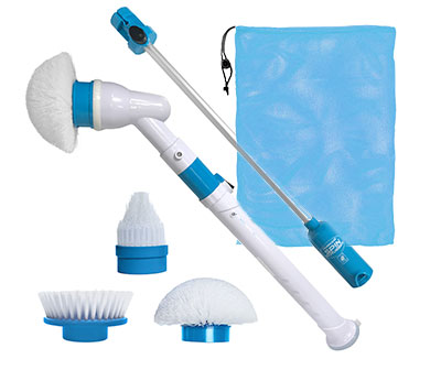 Single set of Clean Police Sani-Scrubber, storage bag, and set of interchangeable scrubber heads