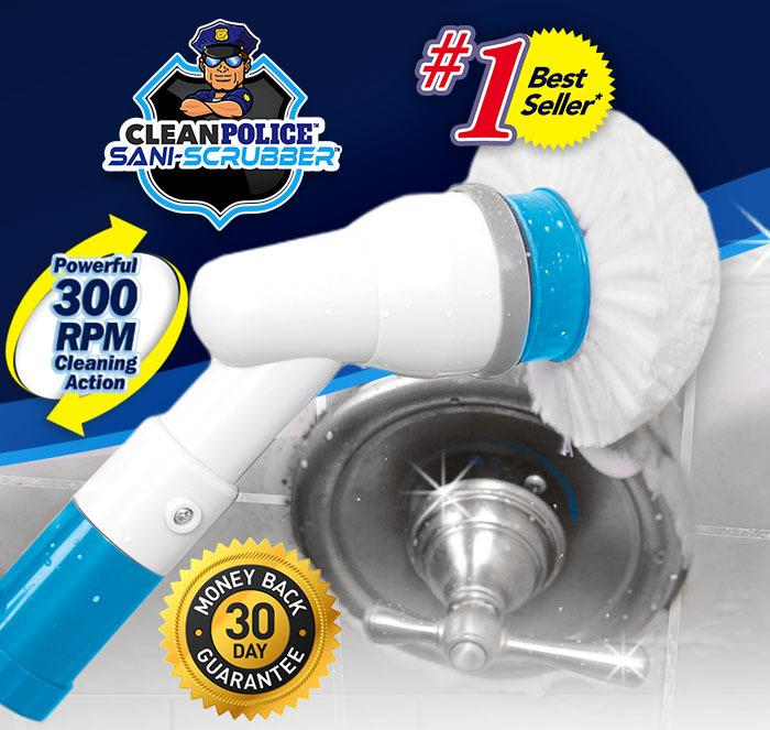 Clean Police Sani-Scrubber; #1 Best Seller; Powerful 300 RPM Cleaning Action; 30 Day Money Back Guarantee; Close up of Clean Police Sani-Scrubber cleaning bathtub