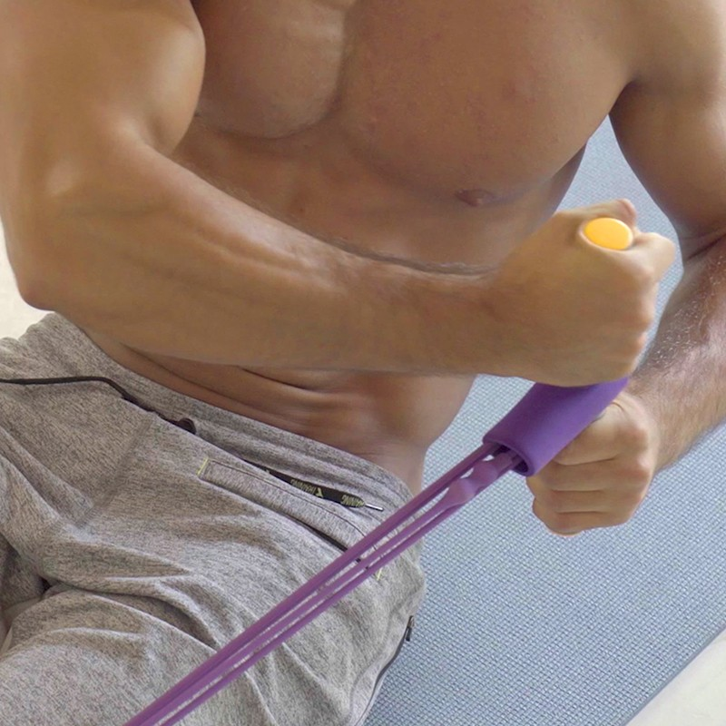 man using ezcize to tighten lower abs
