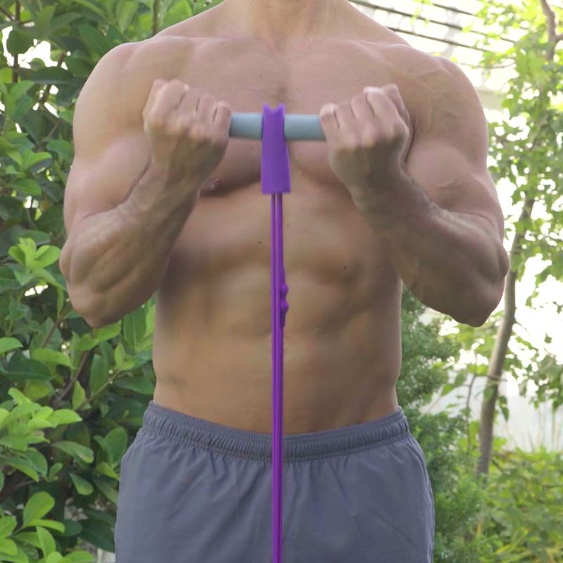 man standing doing bicep curls with ezcise