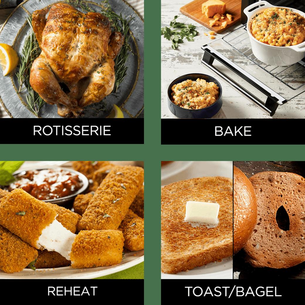 rotisserie chicken, bake pie, reheat mozzarella sticks, toast bagel