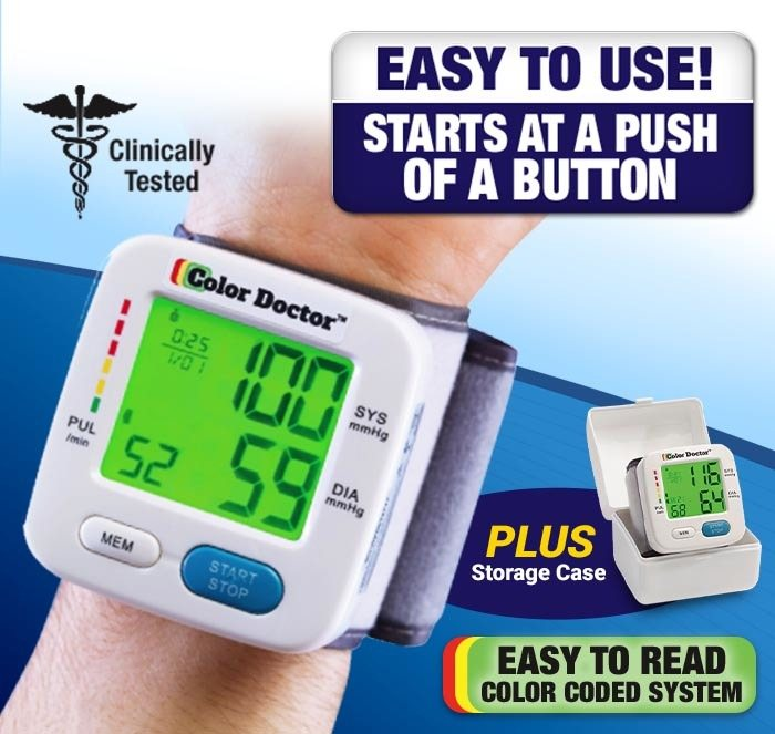 Clinically tested; easy to use! starts at a push of a button; Color Doctor on arm, plus storage case; Easy to Read Color Coded System