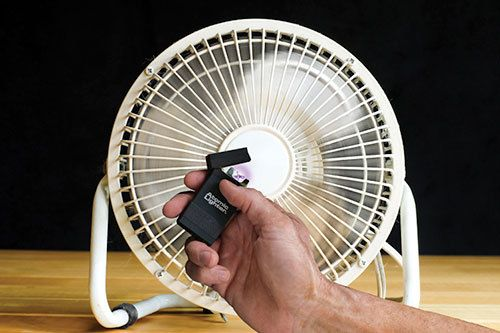 Atomic Lighter on in front of fan