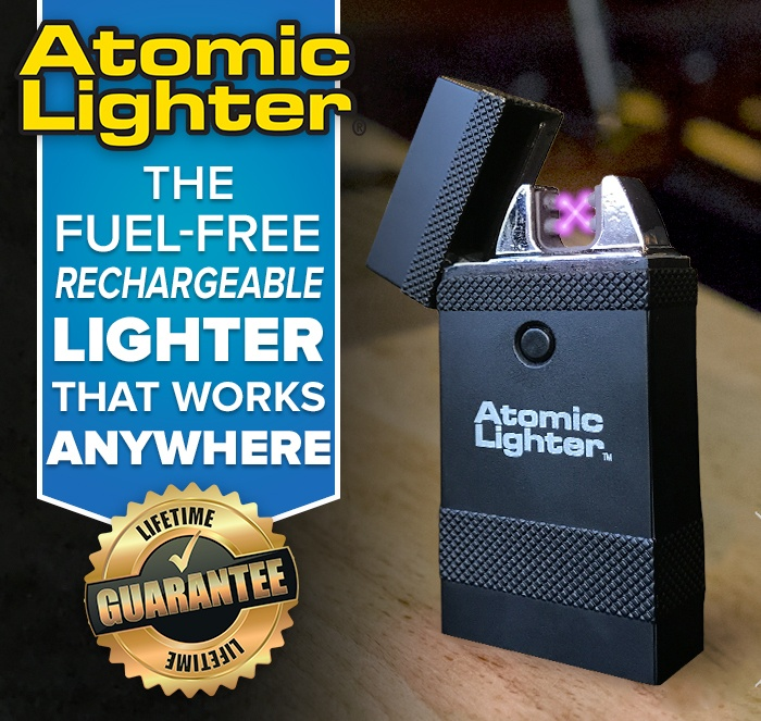 Atomic Lighter the fuel-free rechargeable lighter that works anywhere lifetime guarantee