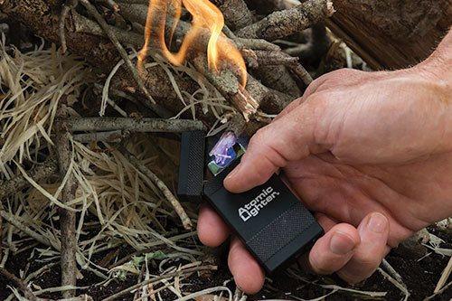 Atomic Lighter lighting a fire