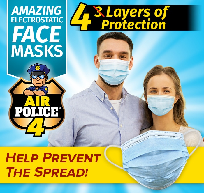 Young Couple wearing Air Police 4 Face Masks. Amazing Electrostatic Face Mask Air Police 4, 4 layers of protection, help prevent the spread!