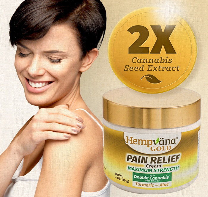 2x cannabis seed extract; woman rubbing shoulder smiling; Hempvana Gold pain cream jar