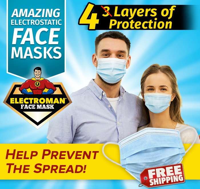 Amazing Electrostic Face Masks; 4 Layers of Protection; Electroman Face Mask logo; Help prevent the spread!; Free Shipping