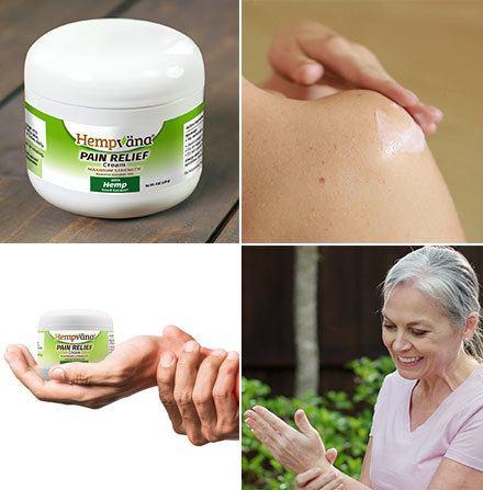 Collage of Hempvana Pain Cream; Close up of hand applying Hempvana Pain Cream to shoulder; Hand holding Hempvana Pain Cream jar; Old woman smiling applying Hempvana Pain Cream to wrist