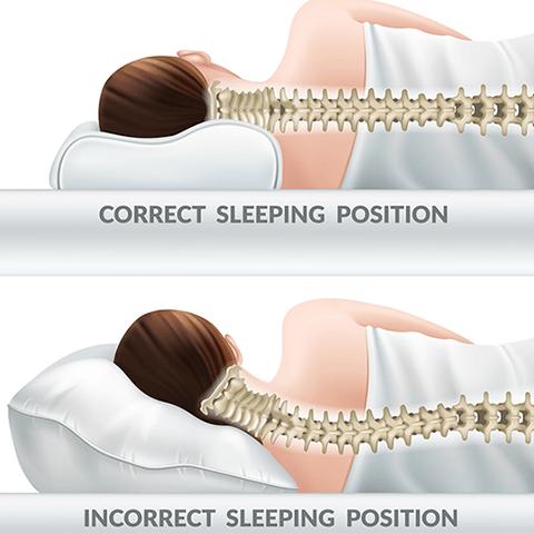 correct sleeping position vs. incorrect sleeping position