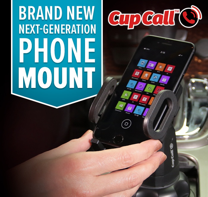 Brand new next-generation phone mount; Cup Call; hand reaching for phone in Cup Call