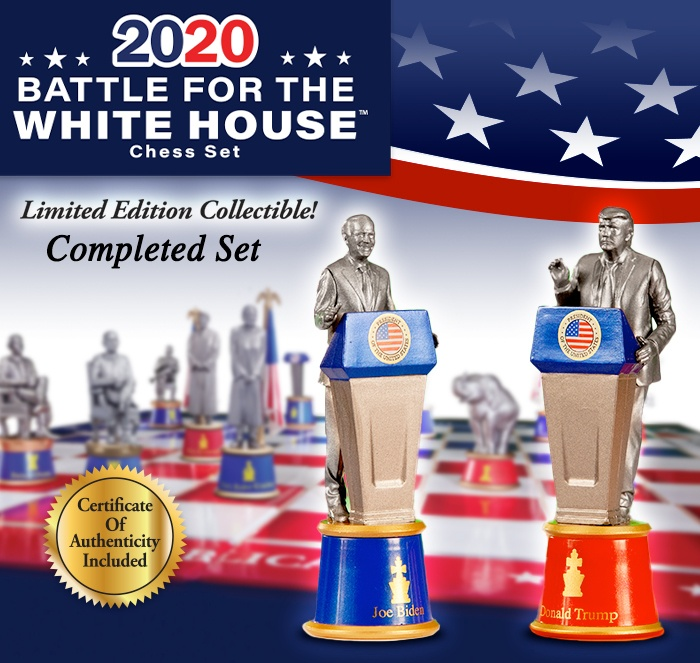2020 Battle for the White House Chess Set Limited Edition Collectible! Completed Set Certificate of Authenticity is Included