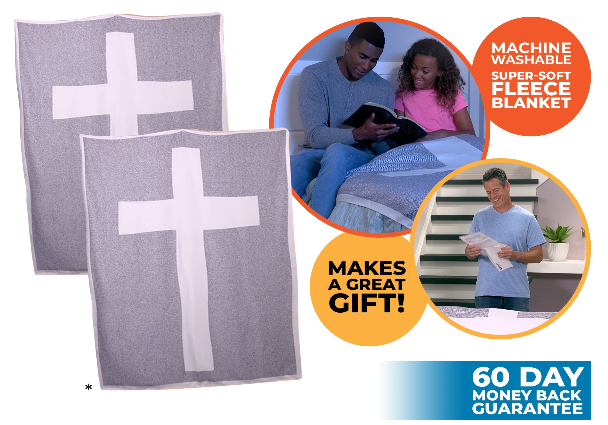 two believer blankets with cross design