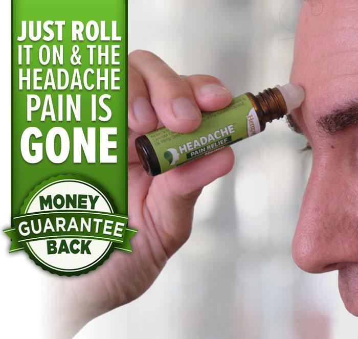 Just roll it on & the headache pain is gone; money back guarantee; man using Hempvana Headache