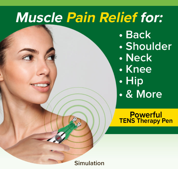Muscle Pain Relief for: back, shoulder, neck, knee, hip, & more; Order now for special double offer!; 30 Day Money Back Guarantee; Simulation of woman using Hempvana Rocket on shoulder