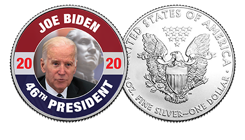 President Joe Biden on George Washington Silver Dollar