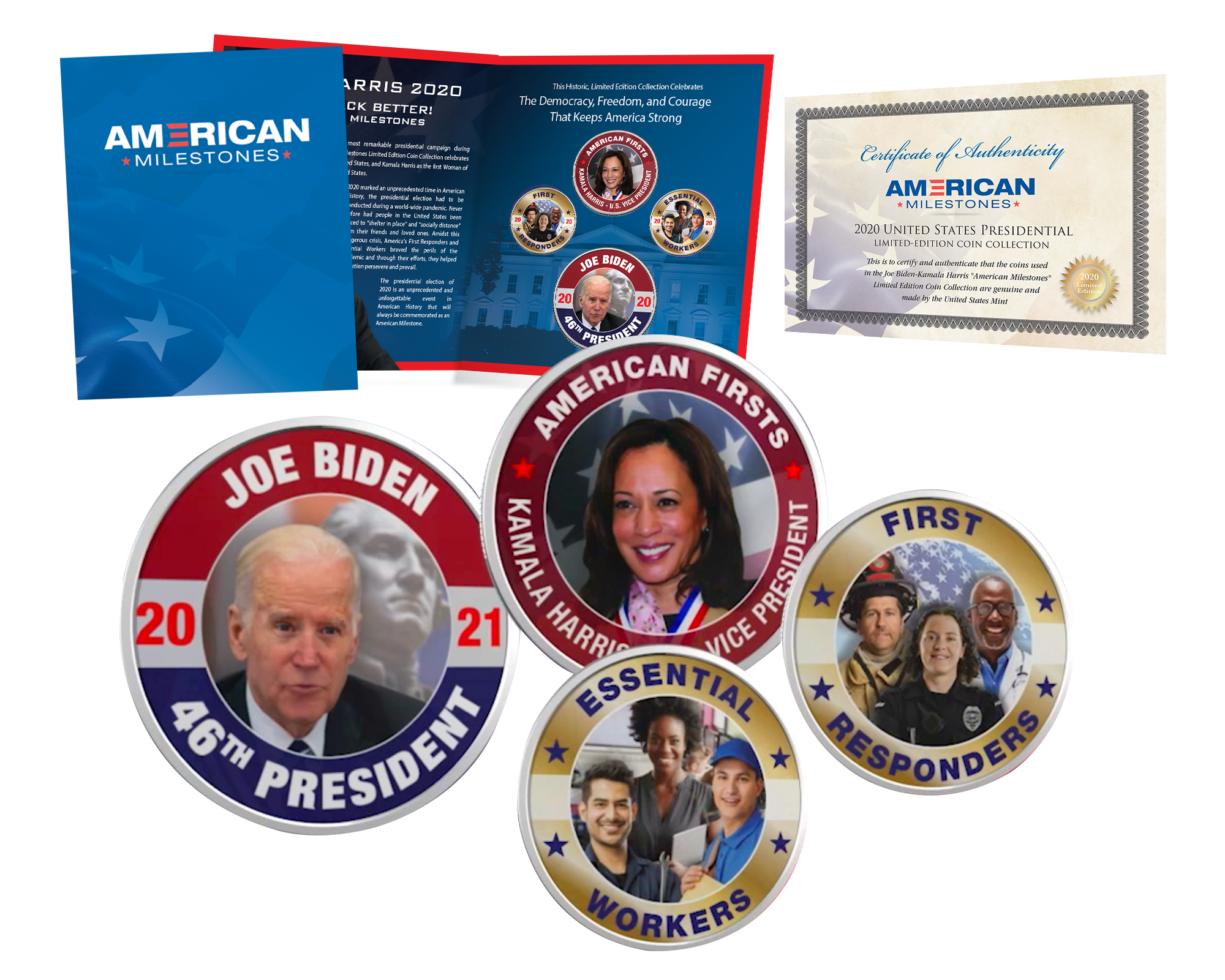 4-Pc Biden Harris Essential Workers First Responders Coins with Certificate of Authenticity