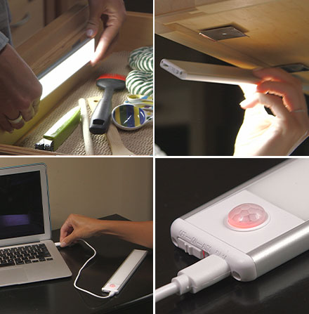 Collage of Atomic Sun Blade being placed in drawer; Atomic Sun Blade being stuck to underside of kitchen cabinet; Atomic Sun Blade being charged via laptop; close up of charging port of Atomic Sun Blade