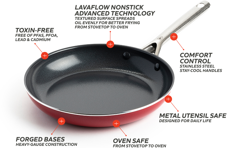 Red Volcano Frying Pan Cookware is Toxin-Free, Oven Safe, Broiler Safe, Dishwasher Safe and Metal Utensil Safe.
