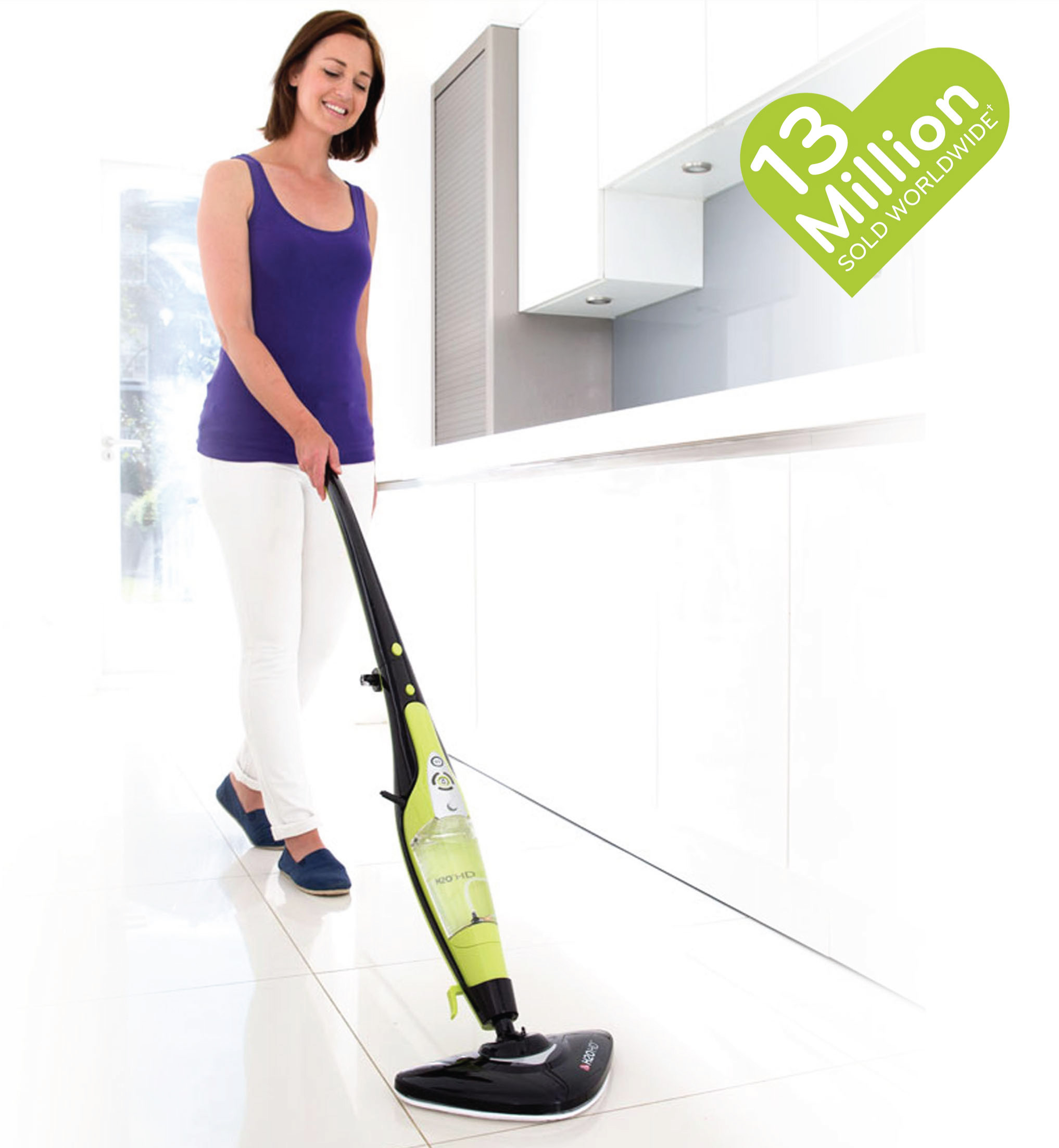 A woman cleaning the floor with H2O HD