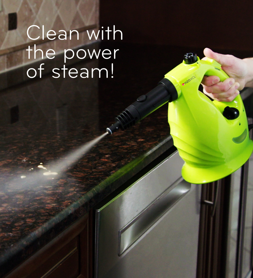 XCL cleaning a countertop with the power of steam