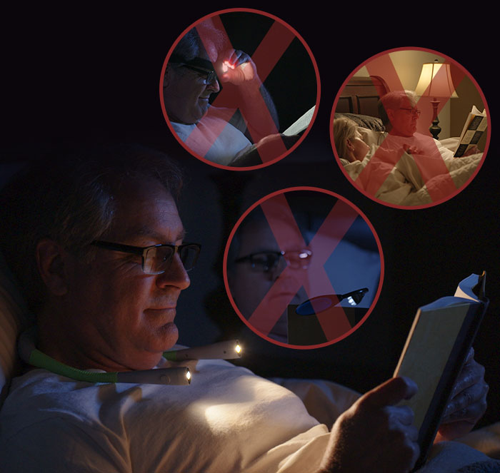 Man reading in bed with crossed out insets of man using a headlamp, using a reading light, and lamp turned on