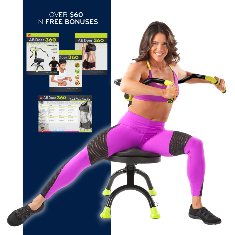 A lady using Ab Doer 360 alongside the free bonuses