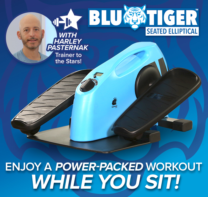 Enjoy a power-packed workout while you sit; Blu Tiger logo in corner; image of Harley Pasternak using Blu Tiger with badge that says Harley Pasternak trainer to the stars!