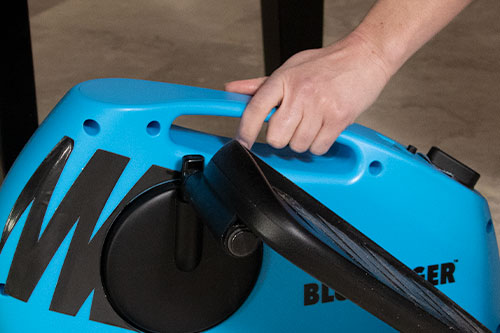 Close up of someone gripping Blu Tiger's built-in handle