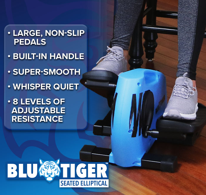 Woman using Blu Tiger at kitchen counter while working on laptop; Low impact ellipitical tones & strengthens; Blu Tiger logo in corner