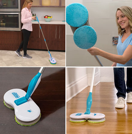 Collage of woman cleaning with Floor Police