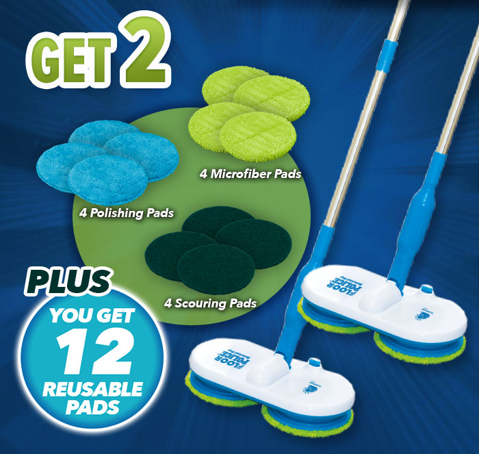 Get 2 Floor Police plus you get 12 reusable pads; 4 microfiber pads, 4 polishing pads, 4 scrubbing pads, 2 Floor Police on blue soapy background