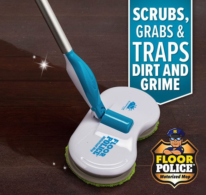 Scrubs, grabs & traps dirt and grime; Floor Police wiping a path clean over dusty, dirty wooden floor