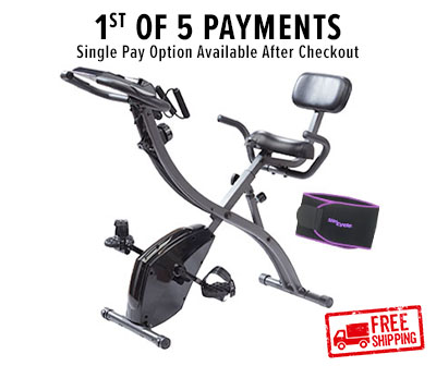 1st of 5 payments; single pay option available after checkout; Slim Cycle bike with Slim Away Belt; Free shipping stamp in corner