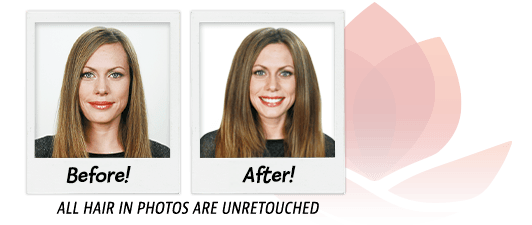 Before and after image of woman with huge hair volume after using the VOLOOM volumizing iron
