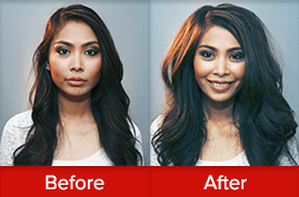 Before and after image of Hispanic lady with huge hair volume after using the VOLOOM volumizing iron